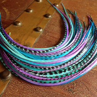 Feather Hair Extension - Jawbreaker bundle long colorful grizzly hair Feather extensions bonded hair feathers, crimp beads, and threader