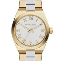 Women's Michael Kors 'Mini Channing' Acetate Link Bracelet Watch, 33mm - Gold/ White