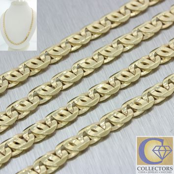Mens 14k Yellow Gold Heavy Anchor Mariner Fancy Link Chain Necklace 36.4g 25'' 5