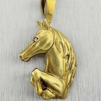 Vintage Estate Maurice Katz 14K Yellow Gold Diamond Eye Horse Pendant