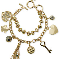 GUESS Gold-Tone Charm Toggle Bracelet
