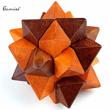 Classic IQ 3D Wooden Interlocking Burr Puzzles Mind Brain Teaser Game Toy for Adults Children Puzzle Lock Education Toy
