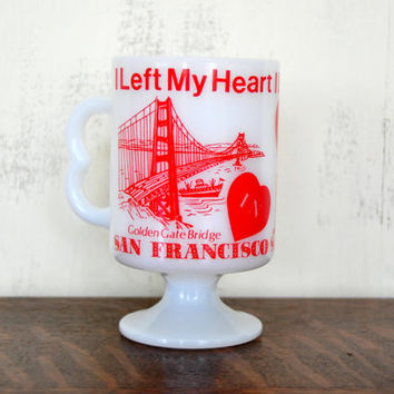 Vintage Milk Glass San Francisco Mug, Travel Souvenir, Pedestal Coffee Mug, California, Golden Gate Bridge
