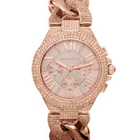 Michael Kors Mid-Size Rose Golden Stainless Steel Camille Chronograph Glitz Link Watch