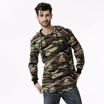 Camouflage Hoodie Long Sleeves Men Longline Shirts Extra Long Oversized Tall Tees