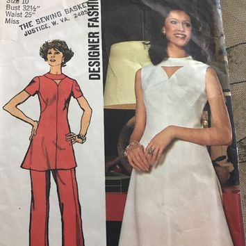 70s Dress or Tunic w Cut Out Neckline Pants Simplicity Pattern 5009 Size 10