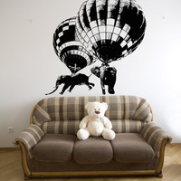Vinyl Wall Decal Sticker Hot Air Balloon Elephants #5058