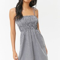 Smocked Gingham Self-Tie Cami Dress