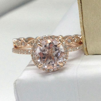 Wedding Ring Sets!Morganite Engagement Ring with Diamond Full Eternity Band 14K Rose Gold,7mm round cut Morganite,Art Deco Matching Band
