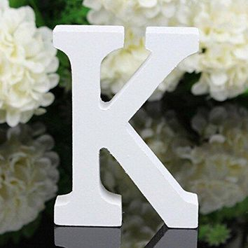 Decorative Wood Letters,Totoo Hanging Wall 26 Letters Wooden Alphabet Wall Letter for Children Baby Name Girls Bedroom Wedding Brithday Party Home Decor-Letters (K)