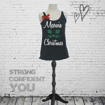 Holiday workout tank top. Meowie Christmas shirt. Christmas tank top shirt. XS-XL. Glitter Christmas shirt. Cat Christmas shirt.