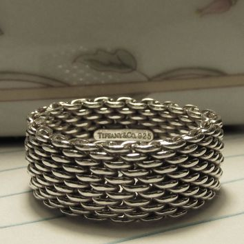 "Vintage RETIRED Estate Sterling Tiffany & Co. ""Somerset"" Mesh Band Band, Unisex Size 7.5"