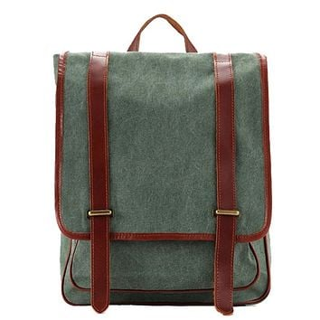 Waxed Canvas with Leather Trim Unisex Backpack