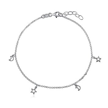 STERLING SILVER STAR CRESCENT MOON CHARM ANKLETSKU# A044-04