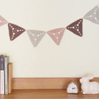 Garland crochet triangle bunting with six crocheted flags - pastel colours, pastel decor, shabby chic style
