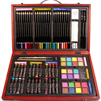 Nicole Studio Art & Craft Supplies Set in Wood Box for Drawing and Painting 79 Piece Multi Colors