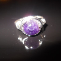 wire wrapped amethyst ring, wire wrapped ring, amethyst ring, silver amethyst ring, wire ring, wire wrapped, purple ring, genuine amethyst