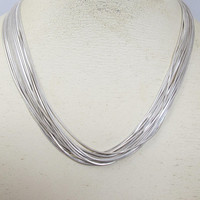 Sterling Silver Multi Chain Necklace, 14 Multi Strand Snake Link Chains, Torsade Choker, Toggle Clasp Closure, 18 Inches