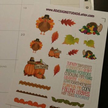 Fun Thanksgiving themed stickers Planner / Calendar stickers for your Erin Condren, Inkwell Press, Plum Paper, Happy Planner, Filofax