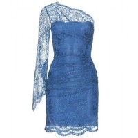 mytheresa.com -  Emilio Pucci - ONE-SHOULDER DRESS WITH LACE OVERLAY - Luxury Fashion for Women / Designer clothing, shoes, bags