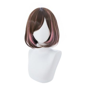 Cool Youtuber Kizuna AI Cosplay Wig Women Short Bob Brown And Pink Synthetic Hair Wig For Halloween Party Costume + Wig CapAT_93_12