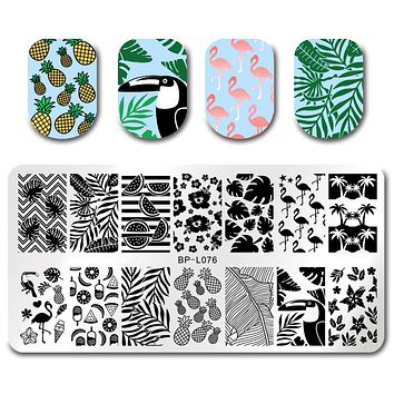 BORN PRETTY Triangle Nail Stamping Template Flamingo Plate Flower Moon Compass Rectangle Manicure Nail Art Image Plate for DIY