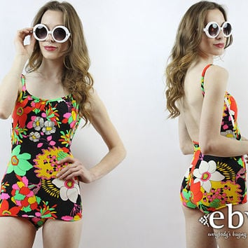 1960s Swimsuit 60s Swimsuit 60s Mod Swimsuit Psychedelic Swimsuit 70s Swimsuit 1970s Swimsuit One Piece Swimsuit Vintage Bathing Suit XS S