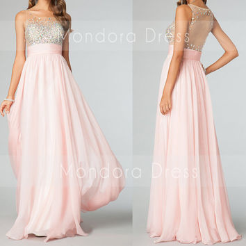 Pink Sheer Prom Dress Long Pink Prom Dress Sheer Beading Prom Dress Long Dress -Custom Made