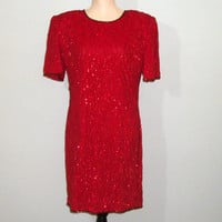 Red Cocktail Dress Petite Extra Large Sequin Dress Short Formal Party Dress Red Christmas Dress Holiday Dress Large Petite Women Clothing