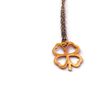 Lucky 4 Four Leaf Clover Necklace Gold Filled Chain Charm Pendant Irish St. Patty Patricks Day Party Womens Hers Design Vintage 1980s 80s