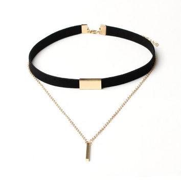 Black Velvet Choker Necklace Gold silver long Chain Bar Chokers 2016 New Chocker Necklace For Women collares mujer collier