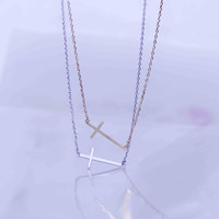 Sideway Cross necklace/ Stand out neatly sense
