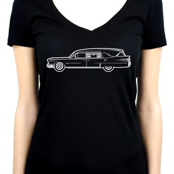 Hearse Funeral Car Women's V-Neck Shirt Top Gothic Clothing