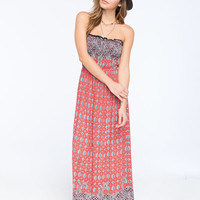 Angie Tile Boho Print Smocked Maxi Dress Orange  In Sizes
