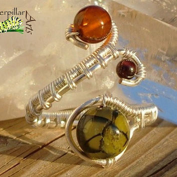 Genuine Baltic Amber Garnet Wire Wrapped Ring -  Made to Order - Silver Plated Copper - Adjustable