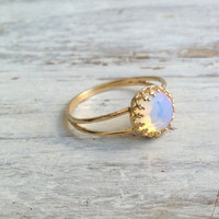 opal ring, gemstone ring, stacking ring, genuine opal stone, white opal ring, gold rings, white opal - 5508