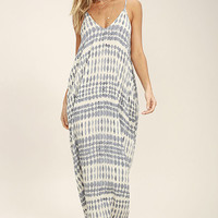 Tide Chaser Cream and Grey Print Maxi Dress