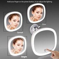 Miusco Lighted Mirror, 7X Magnifying Lighted Makeup Mirror, 9 inch, Adhesive Suction Mount, Batteries & USB Operated