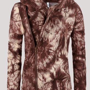 Brown Zipper Tie Dye Hooded Casual Going out Cardigan Sweatshirt
