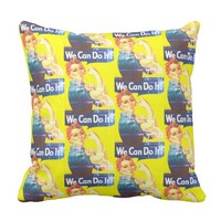 We Can Do It Faded Pattern Throw Pillow