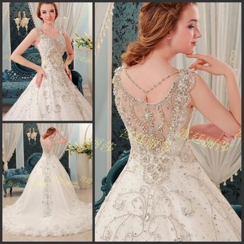Elegant Cathedral Royal Train Round Neck Backless Sleeveless Beaded Lace Tulle Wedding Dress