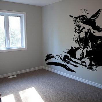 Yoda Star Wars Wall Decal Art Stencil Kids Room Decor Interior Outdoor Mural
