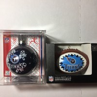 TENNESSEE TITANS NFL LOT OF 2 ASSORTED CHRISTMAS ORNAMENTS SHIPPING