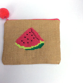 Watermelon wedge, Burlap pouch bag, cross stitch embroidery ,accessories pouch, handmade pouch, travel accessory