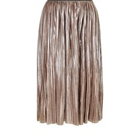 Mela Pink Metallic Pleated Midi Skirt | New Look