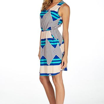 Green Blue Peach Geometric Printed Dress