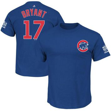 Youth Chicago Cubs Kris Bryant Majestic Royal 2016 World Series Champions Name & Number T-Shirt