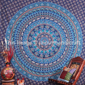 Indian Round Mandala Tapestry, Hippie Hippy Wall Hanging, Psychedelic Indian Mandala, Camel-Elephant Mandala Tapestry, Etchnic Decor Art