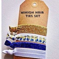 Minion Hair ties- set of 5