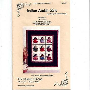 Indian Amish Girls Miniature Quilt & Wall Hanging from The Quilted Ribbon, by Linda Goodmon Emery, From 1992, Vintage Pattern, UNCUT, Unused
